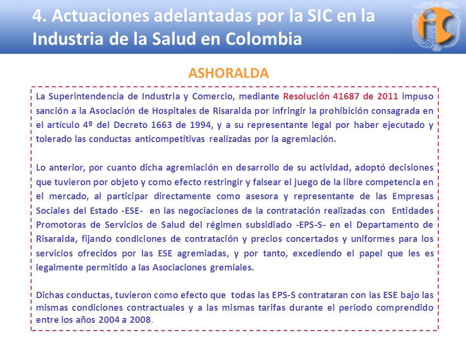 4. Actuaciones adelantadas por la SIC en la Industria de la Salud en Colombia