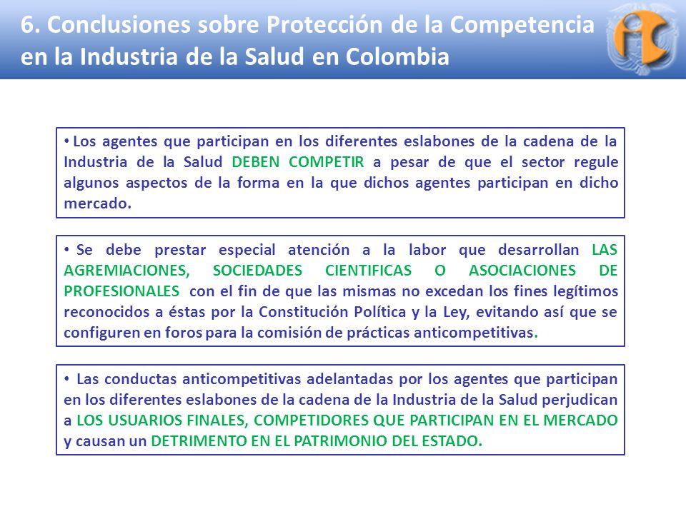6. Conclusiones sobre Protección de la Competencia en la Industria de la Salud en Colombia