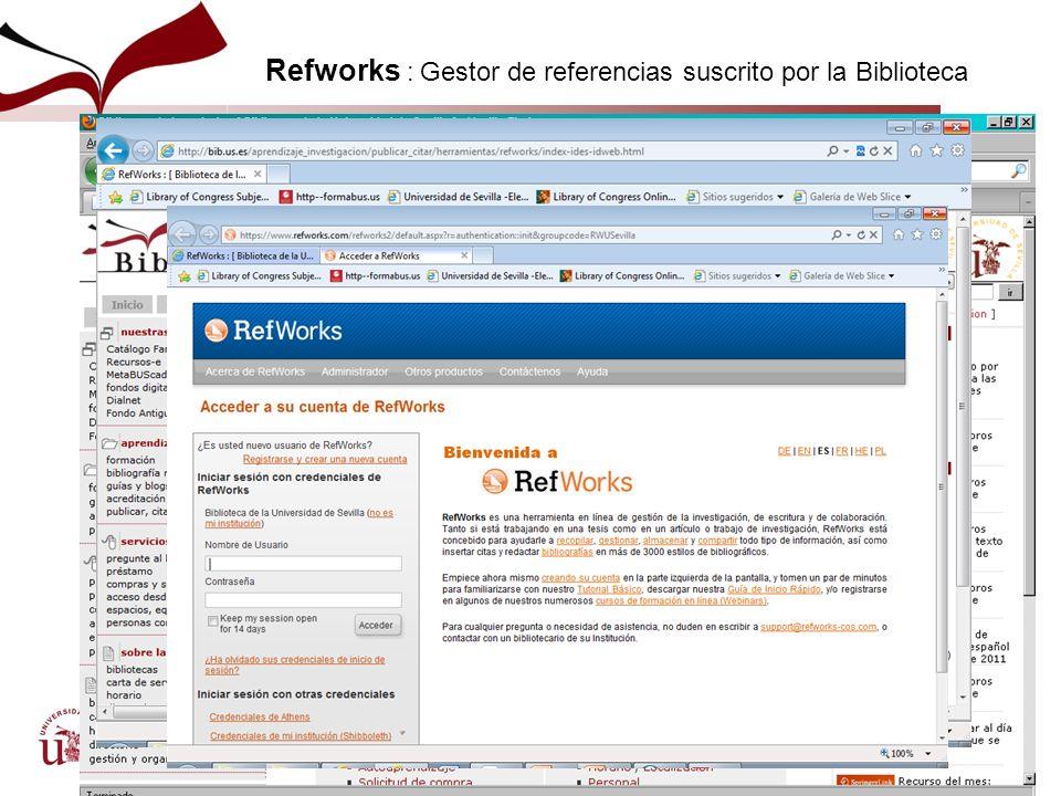 Refworks : Gestor de referencias suscrito por la Biblioteca