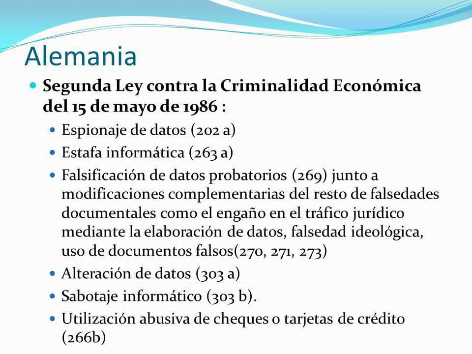 Alemania Segunda Ley contra la Criminalidad Económica del 15 de mayo de 1986 : Espionaje de datos (202 a)