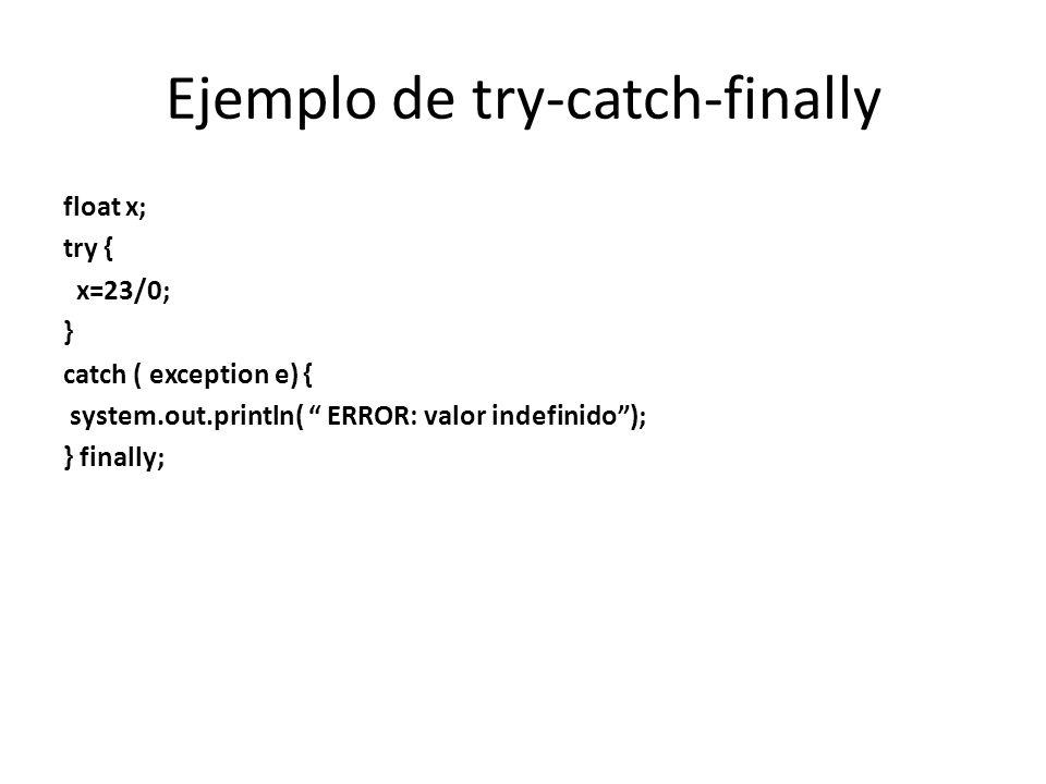 Ejemplo de try-catch-finally