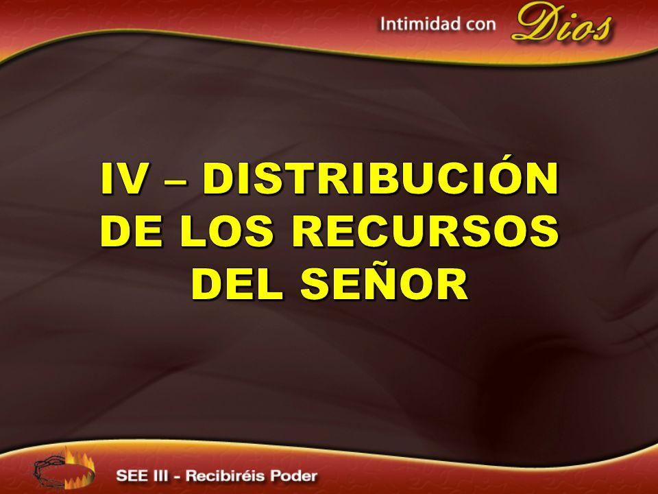 IV – Distribución de los recursos del señor