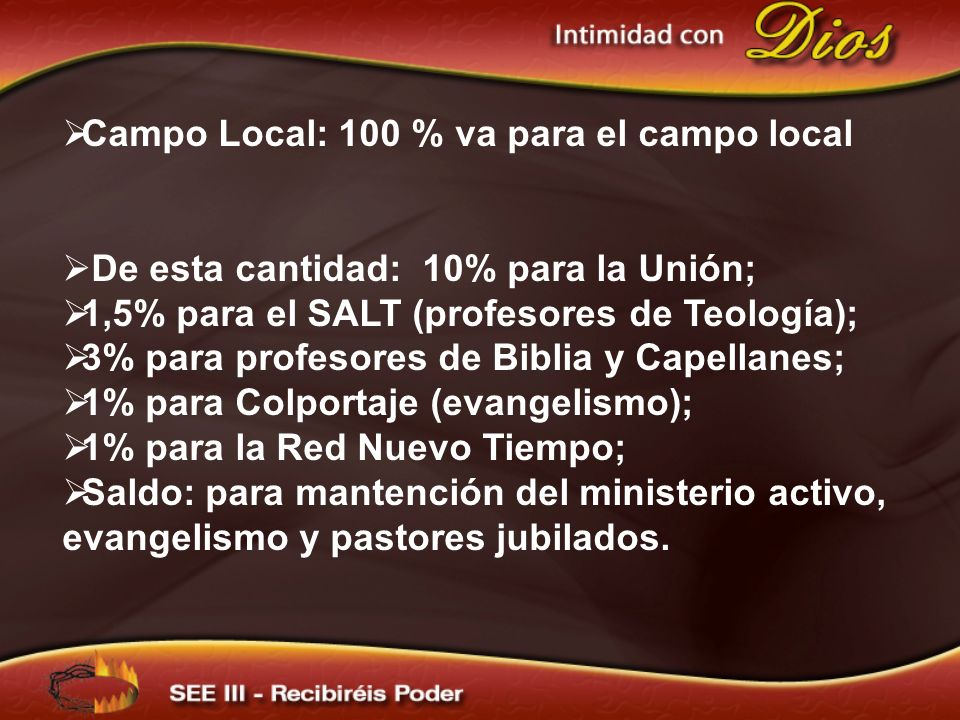Campo Local: 100 % va para el campo local