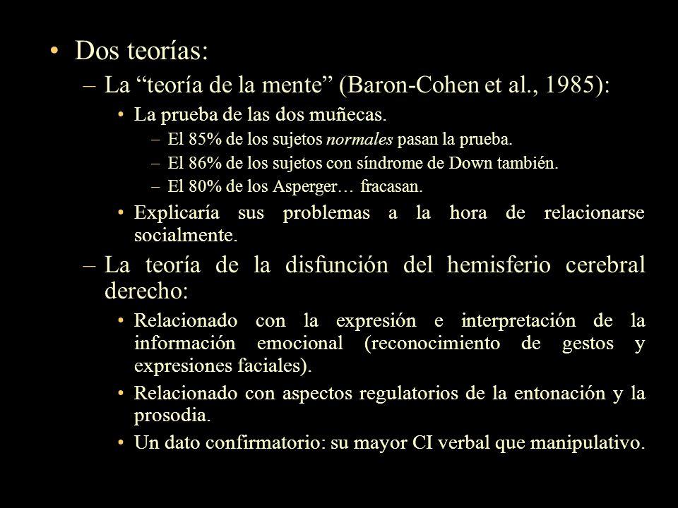 Dos teorías: La teoría de la mente (Baron-Cohen et al., 1985):