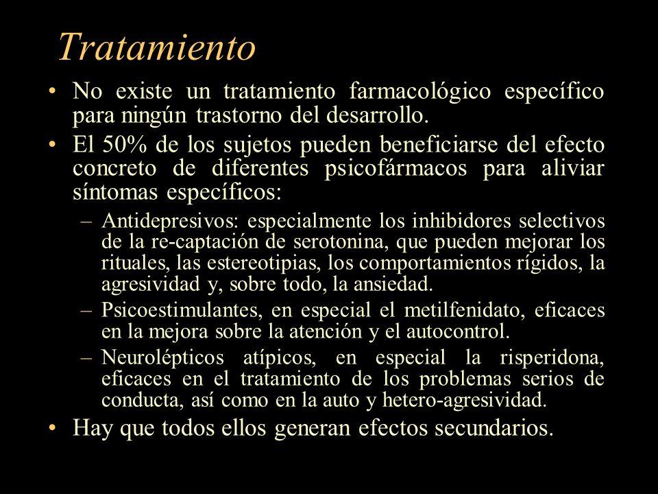 Tratamiento No existe un tratamiento farmacológico específico para ningún trastorno del desarrollo.