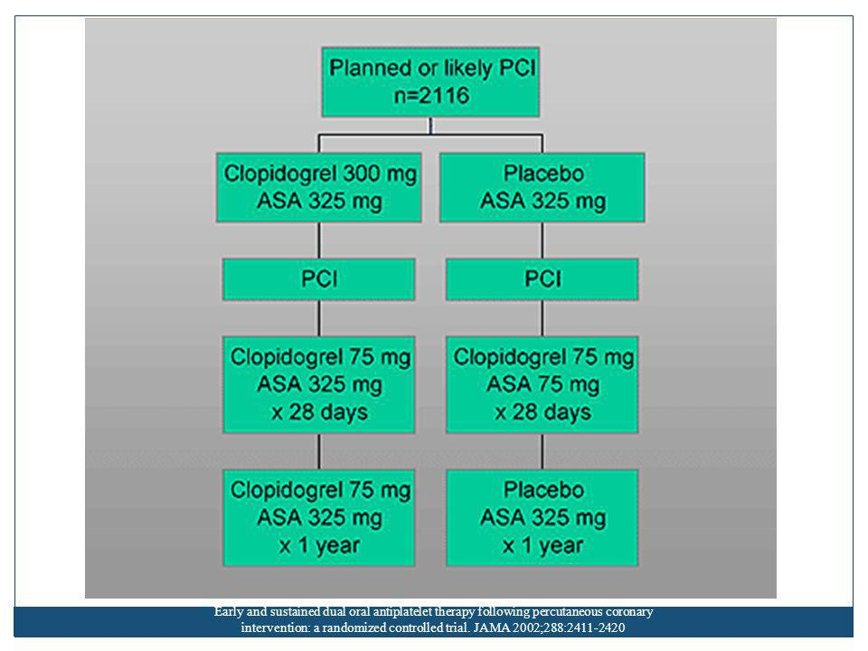 Early and sustained dual oral antiplatelet therapy following percutaneous coronary intervention: a randomized controlled trial.
