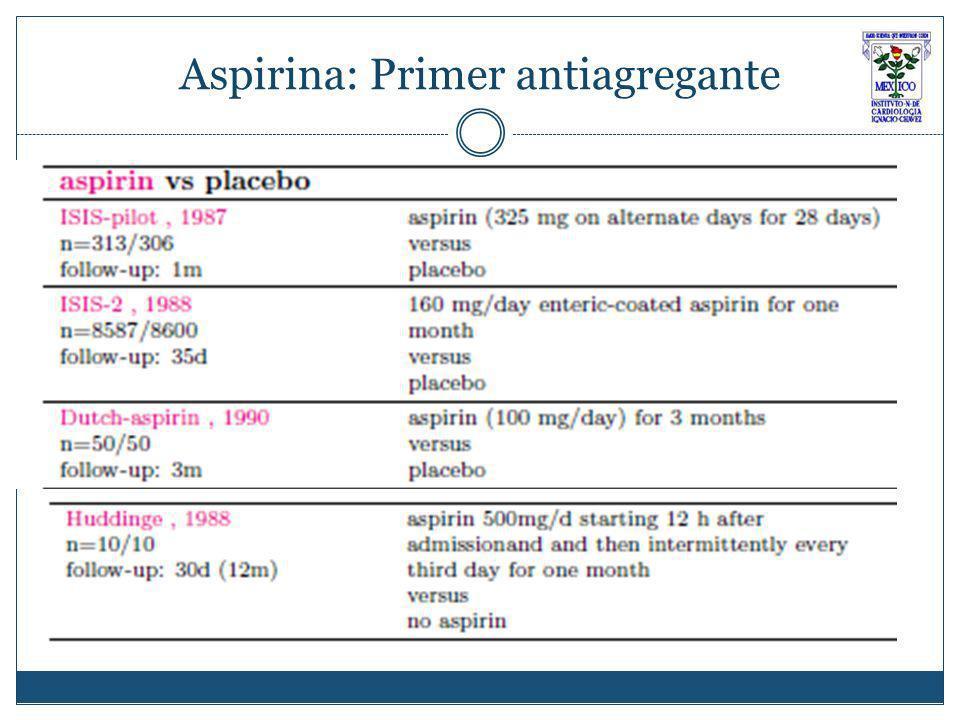 Aspirina: Primer antiagregante