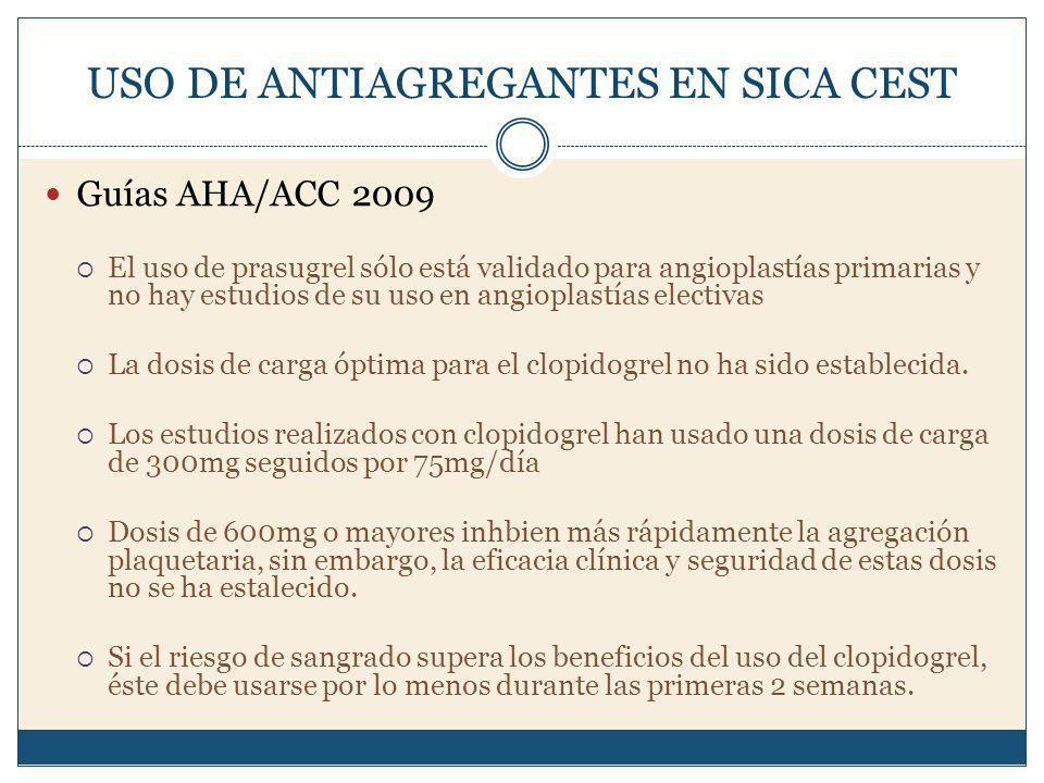 USO DE ANTIAGREGANTES EN SICA CEST