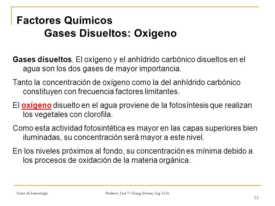 Factores Químicos Gases Disueltos: Oxigeno