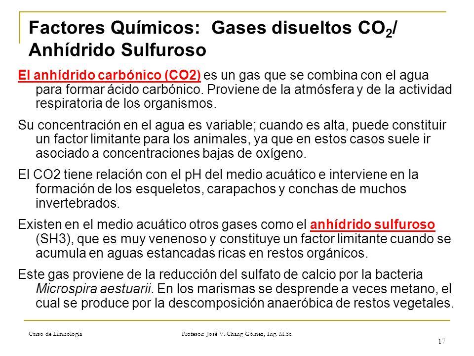 Factores Químicos: Gases disueltos CO2/ Anhídrido Sulfuroso