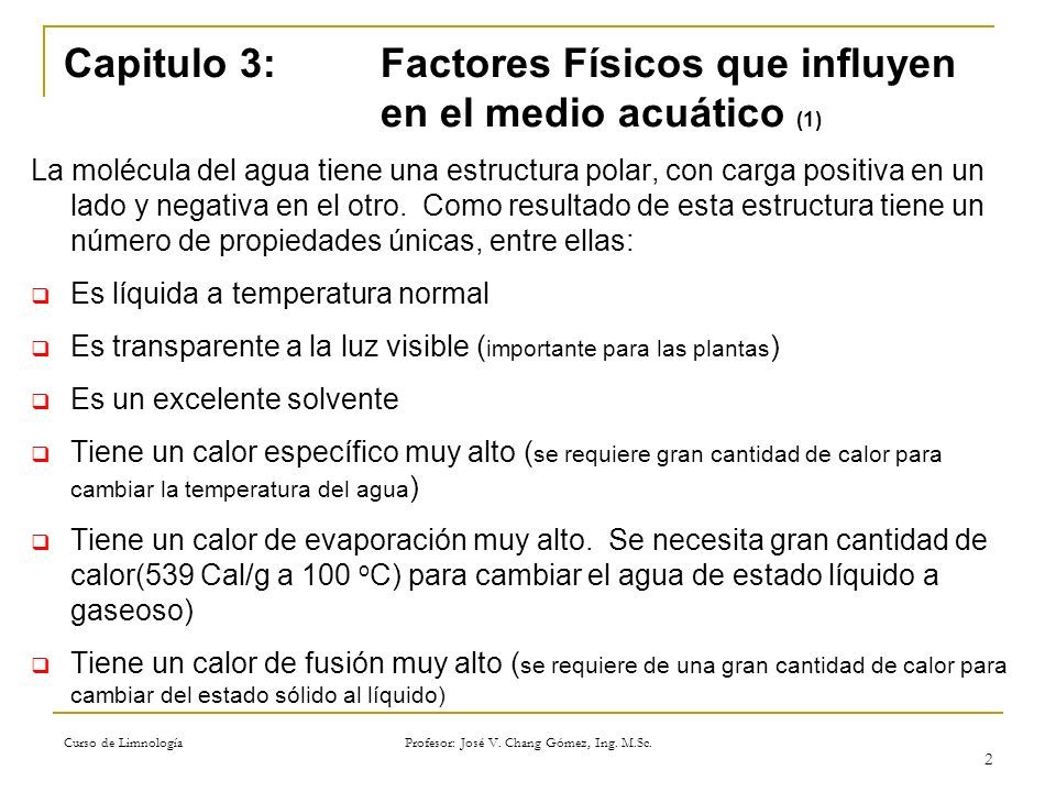 Capitulo 3: Factores Físicos que influyen en el medio acuático (1)