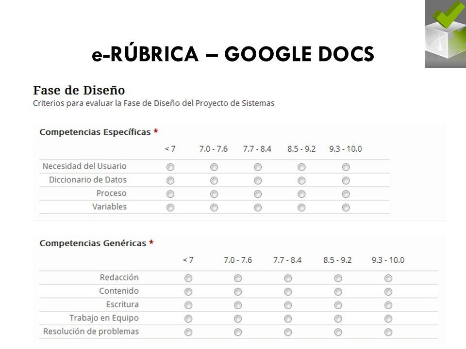 e-RÚBRICA – GOOGLE DOCS