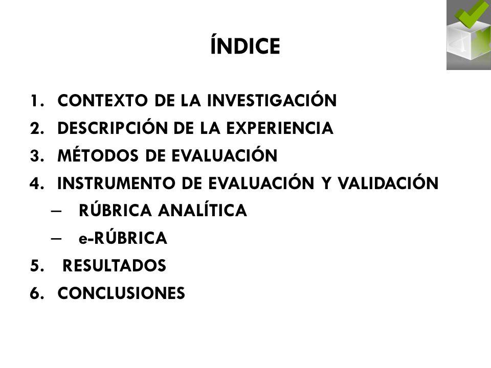 ÍNDICE CONTEXTO DE LA INVESTIGACIÓN DESCRIPCIÓN DE LA EXPERIENCIA
