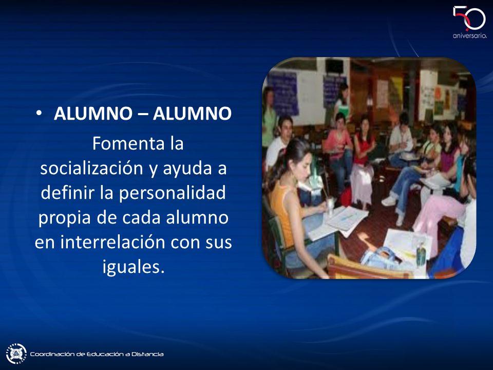 ALUMNO – ALUMNO Fomenta la socialización y ayuda a definir la personalidad propia de cada alumno en interrelación con sus iguales.