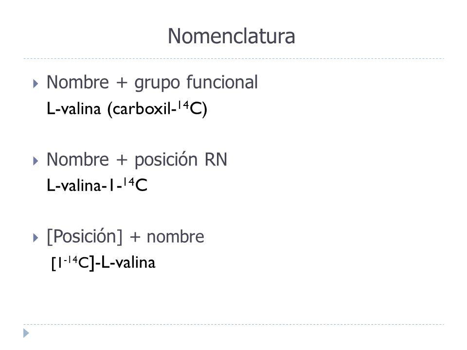 Nomenclatura Nombre + grupo funcional L-valina (carboxil-14C)