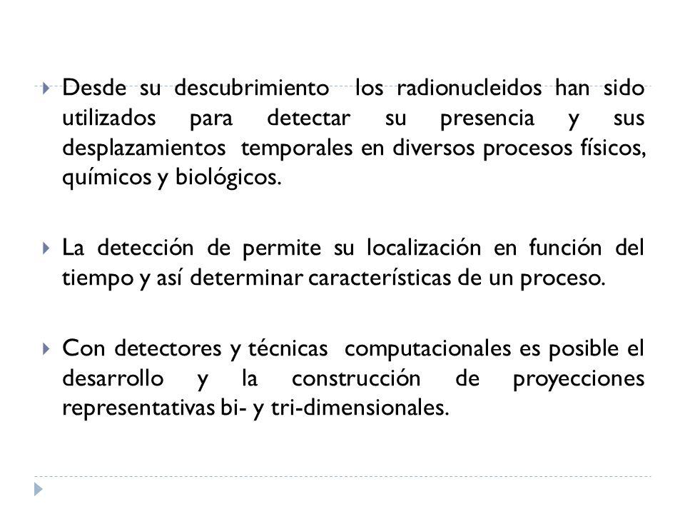 Desde su descubrimiento los radionucleidos han sido utilizados para detectar su presencia y sus desplazamientos temporales en diversos procesos físicos, químicos y biológicos.