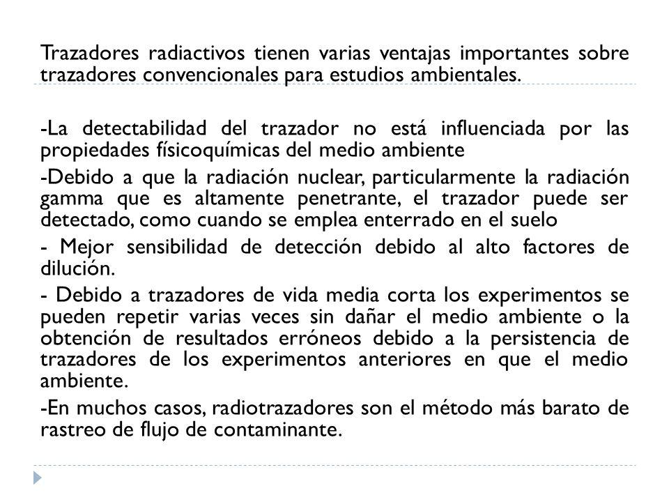 Trazadores radiactivos tienen varias ventajas importantes sobre trazadores convencionales para estudios ambientales.