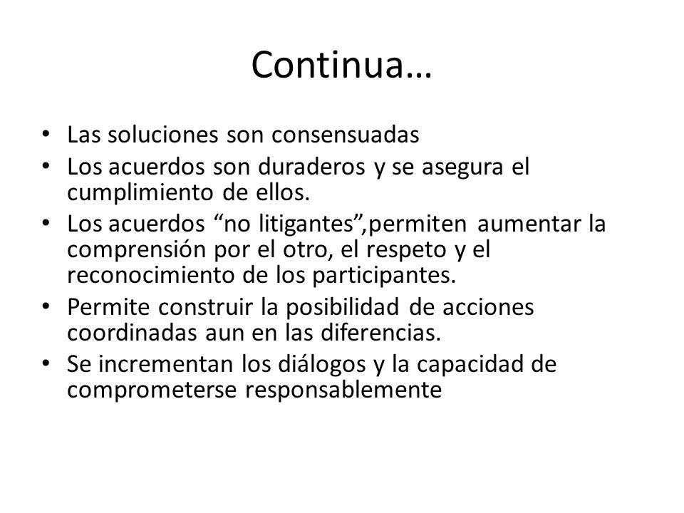 Continua… Las soluciones son consensuadas