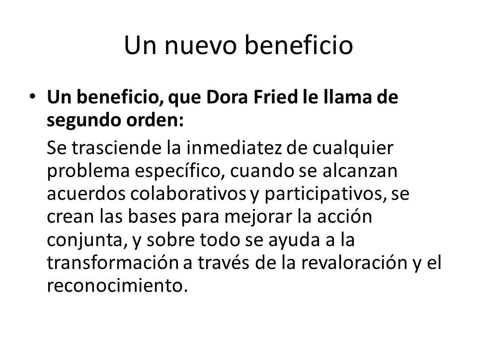 Un nuevo beneficio Un beneficio, que Dora Fried le llama de segundo orden: