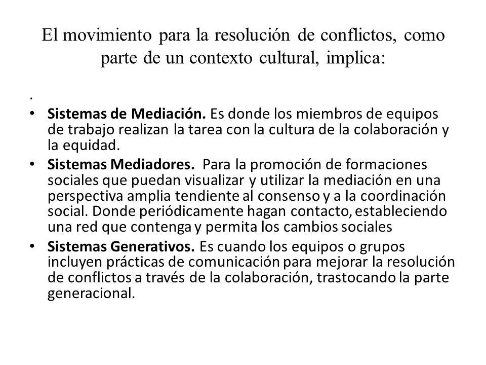 El movimiento para la resolución de conflictos, como parte de un contexto cultural, implica: