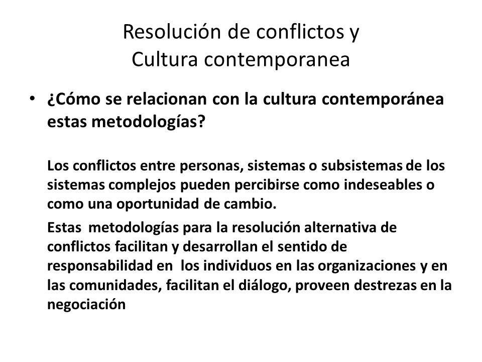 Resolución de conflictos y Cultura contemporanea