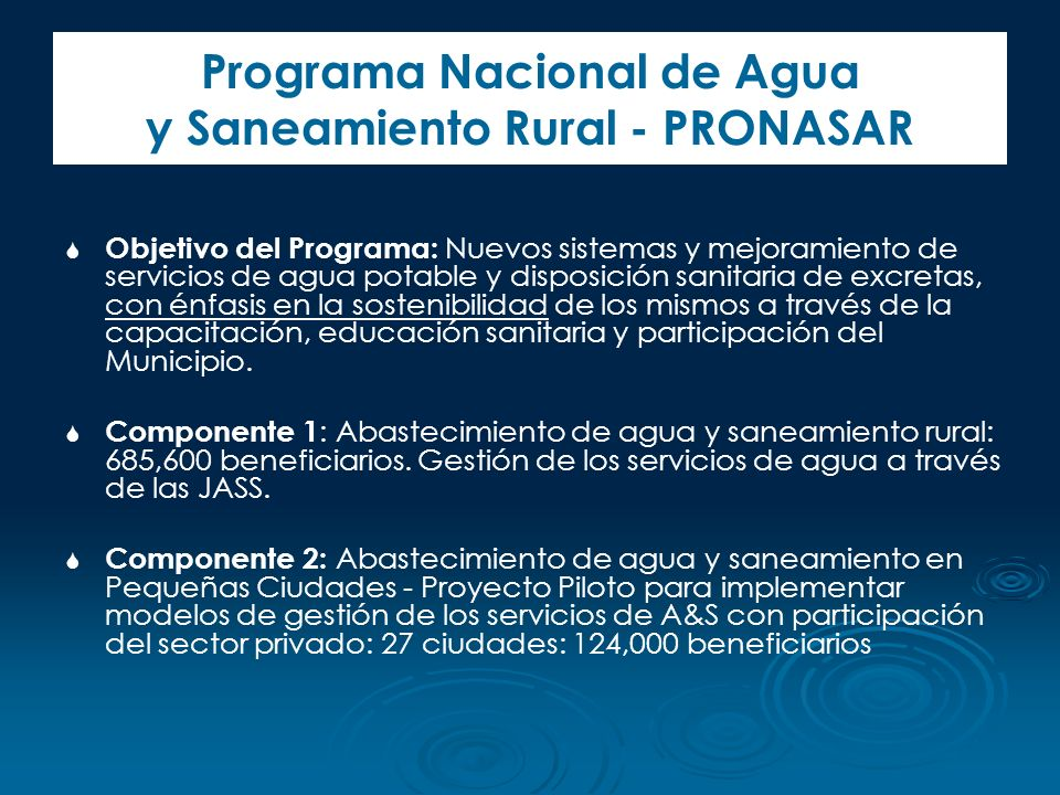 Programa Nacional de Agua y Saneamiento Rural - PRONASAR