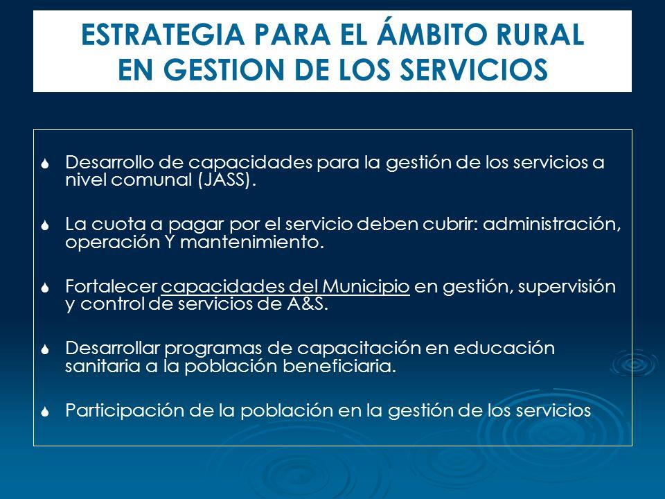 ESTRATEGIA PARA EL ÁMBITO RURAL EN GESTION DE LOS SERVICIOS