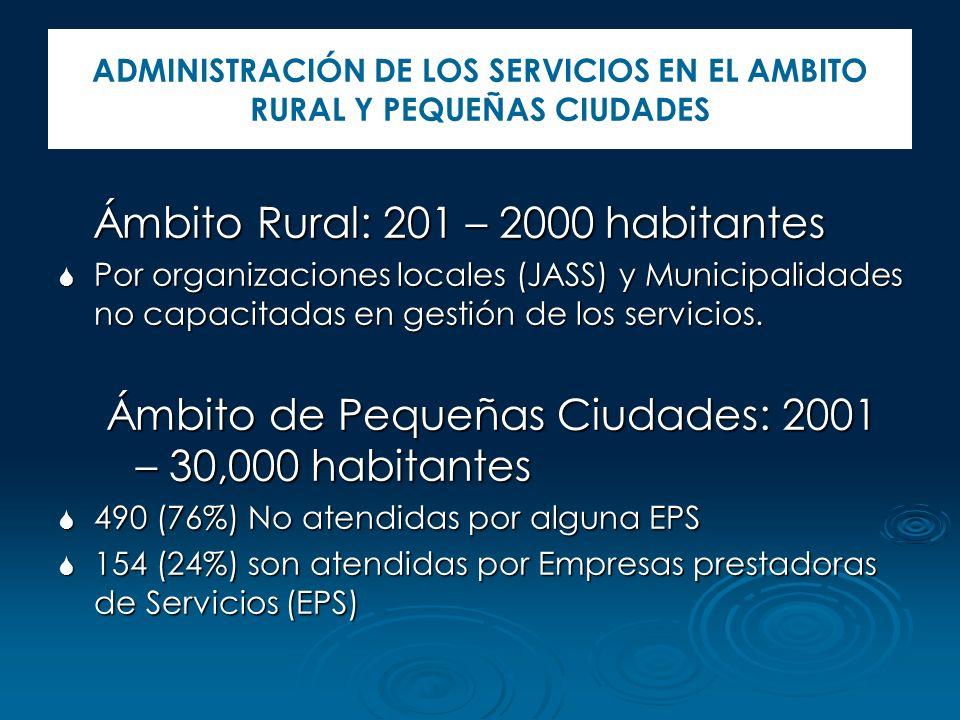 ADMINISTRACIÓN DE LOS SERVICIOS EN EL AMBITO RURAL Y PEQUEÑAS CIUDADES