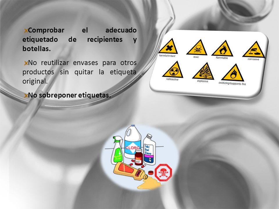 Comprobar el adecuado etiquetado de recipientes y botellas.