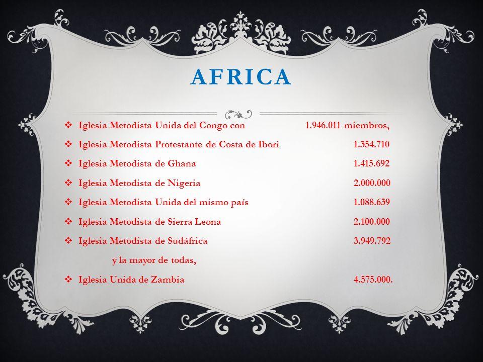 africa Iglesia Metodista Unida del Congo con 1.946.011 miembros,