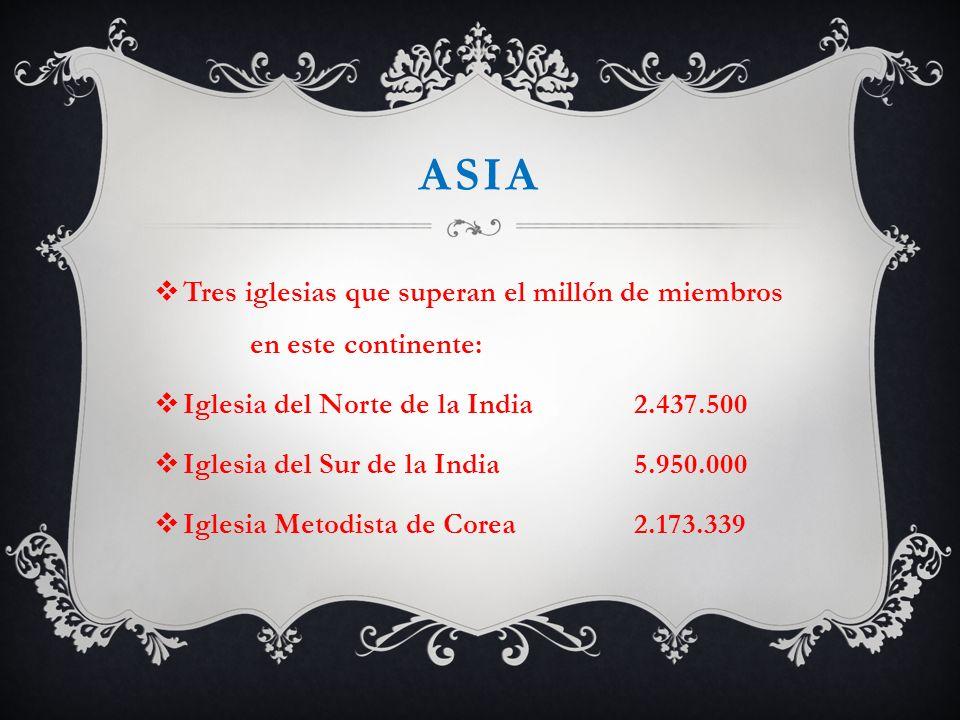 asia Tres iglesias que superan el millón de miembros en este continente: Iglesia del Norte de la India 2.437.500.