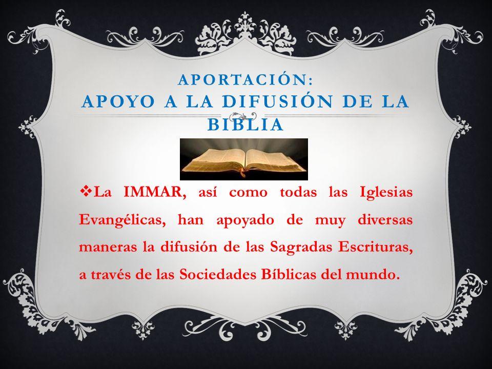 Aportación: apoyo a la difusión de la biblia