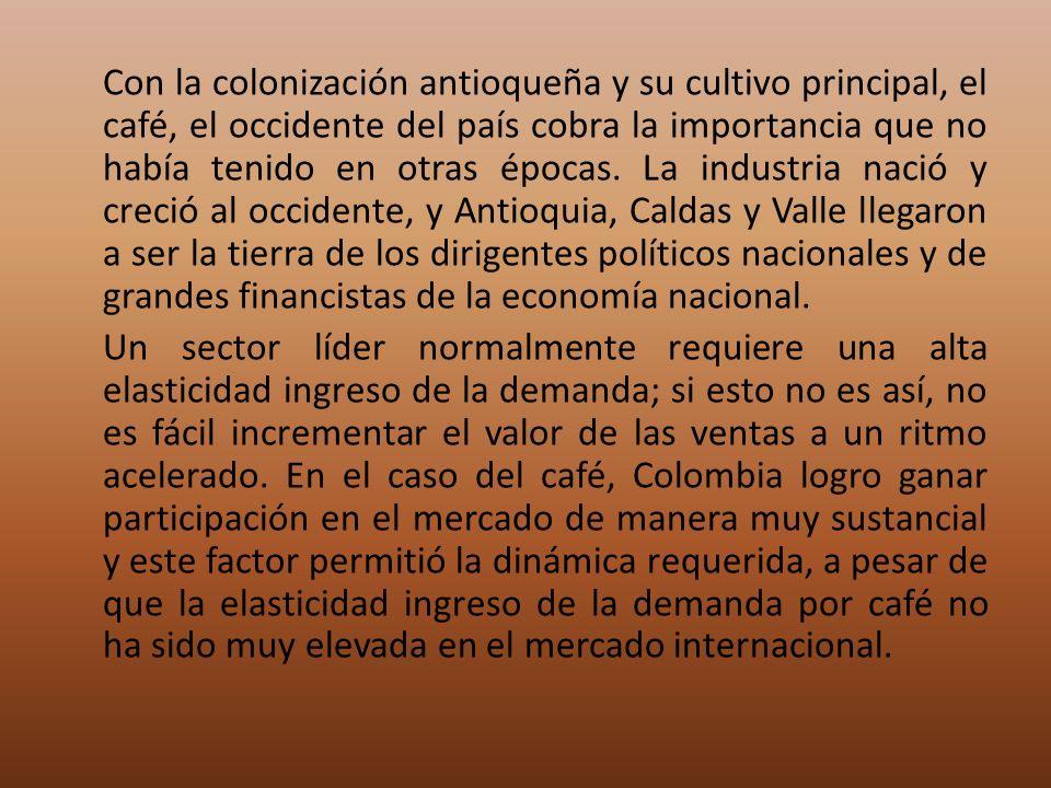 Con la colonización antioqueña y su cultivo principal, el café, el occidente del país cobra la importancia que no había tenido en otras épocas.
