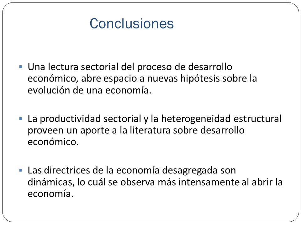 Conclusiones Una lectura sectorial del proceso de desarrollo económico, abre espacio a nuevas hipótesis sobre la evolución de una economía.
