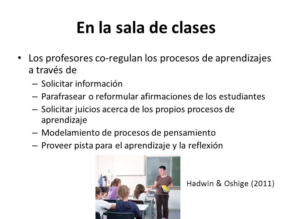 En la sala de clases Los profesores co-regulan los procesos de aprendizajes a través de. Solicitar información.