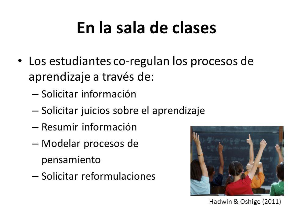 En la sala de clases Los estudiantes co-regulan los procesos de aprendizaje a través de: Solicitar información.