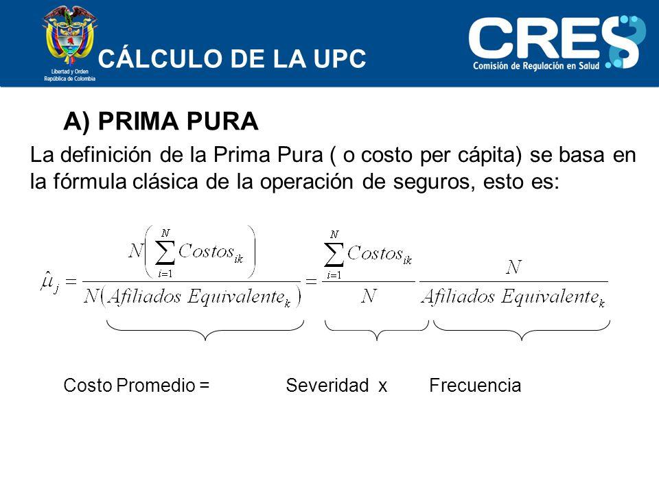 CÁLCULO DE LA UPC A) PRIMA PURA