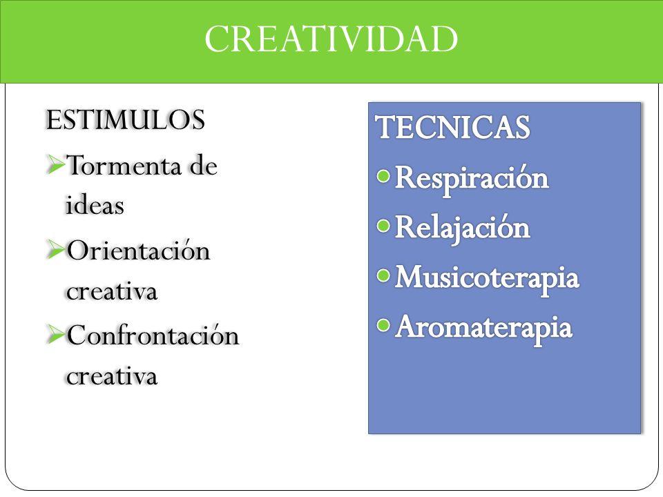 CREATIVIDAD TECNICAS Respiración Relajación Musicoterapia Aromaterapia