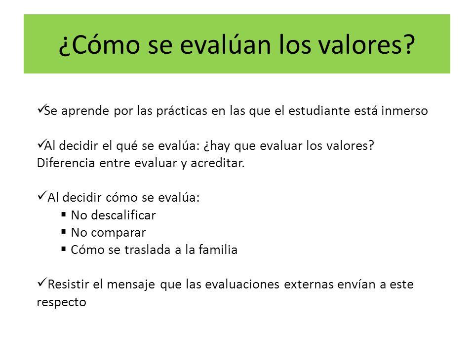 ¿Cómo se evalúan los valores