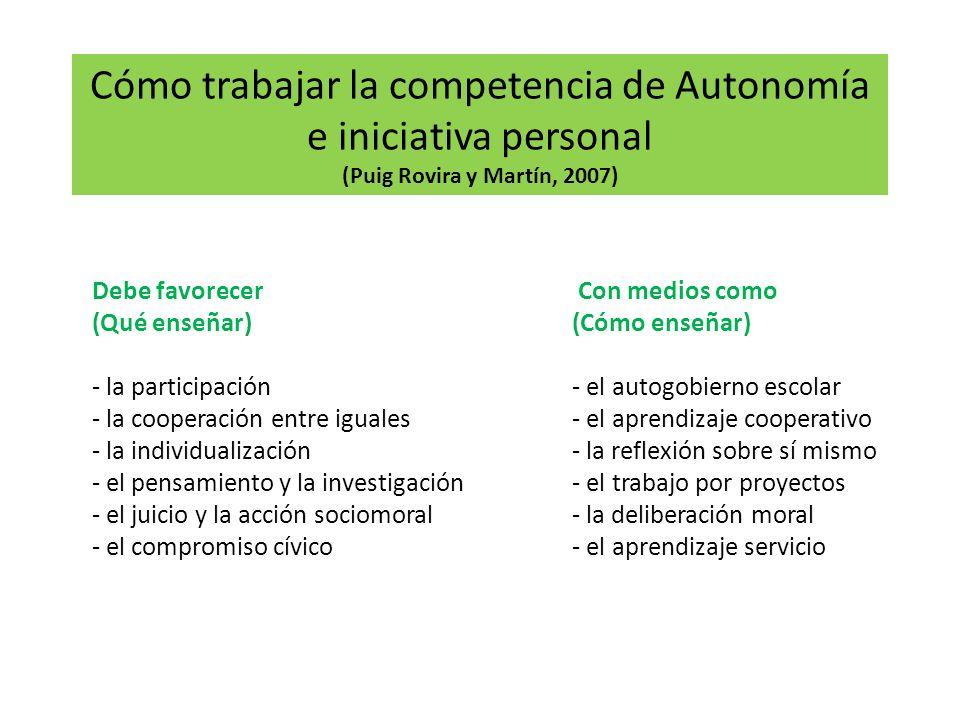 Cómo trabajar la competencia de Autonomía e iniciativa personal (Puig Rovira y Martín, 2007)