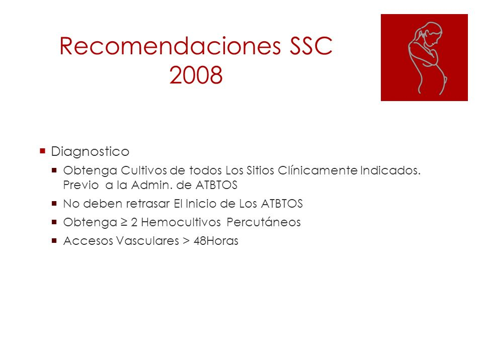 Recomendaciones SSC 2008 Diagnostico