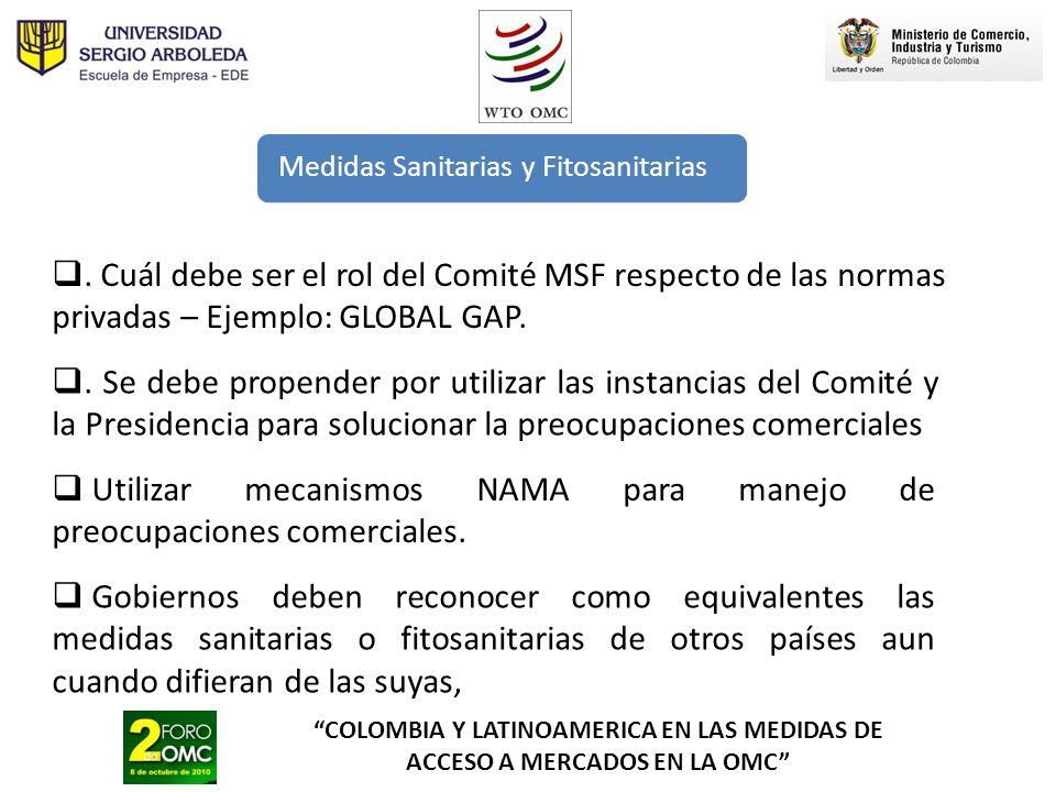 Utilizar mecanismos NAMA para manejo de preocupaciones comerciales.