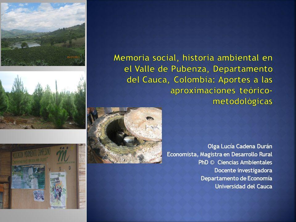 Memoria social, historia ambiental en el Valle de Pubenza, Departamento del Cauca, Colombia: Aportes a las aproximaciones teórico-metodológicas