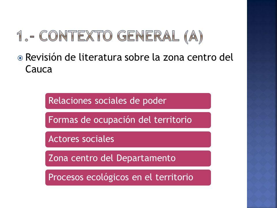 1.- Contexto General (a) Revisión de literatura sobre la zona centro del Cauca. Relaciones sociales de poder.