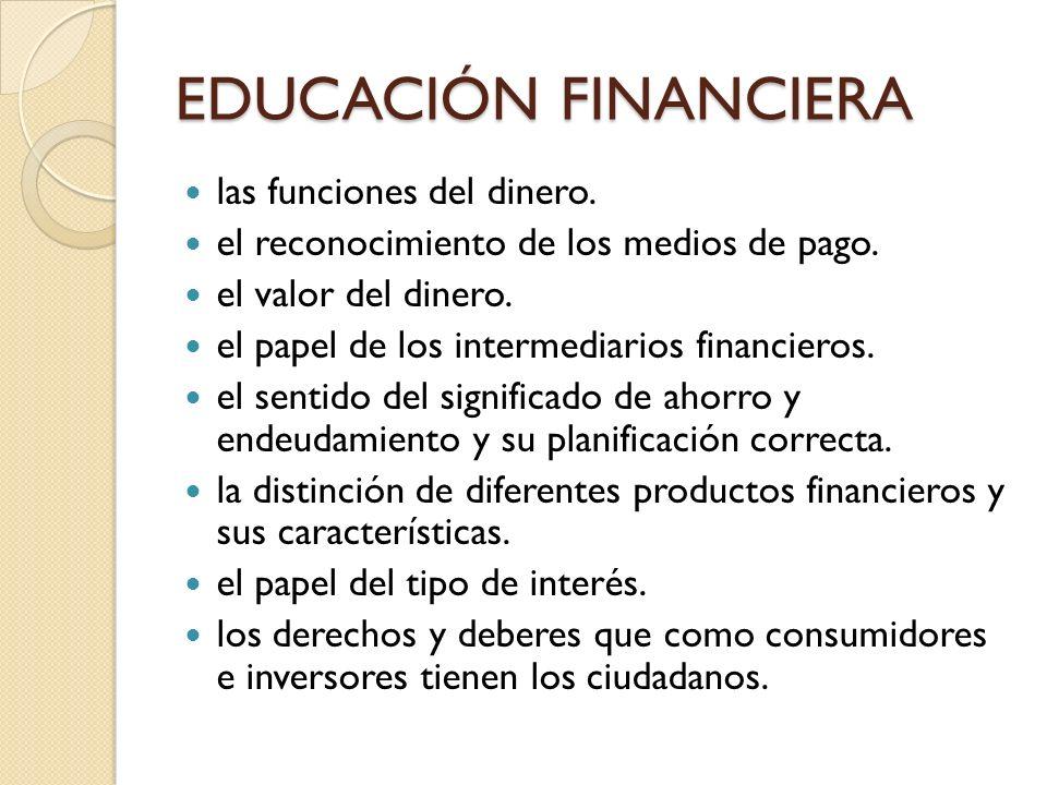 EDUCACIÓN FINANCIERA las funciones del dinero.