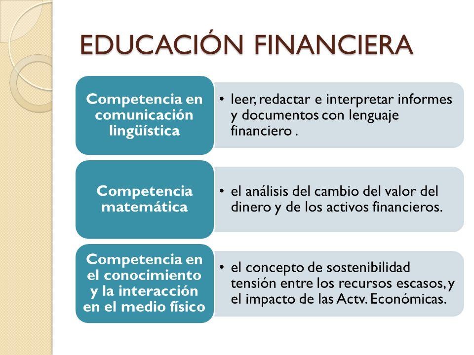 EDUCACIÓN FINANCIERA Competencia en comunicación lingüística