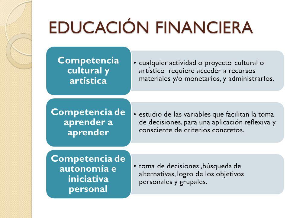 EDUCACIÓN FINANCIERA Competencia cultural y artística.