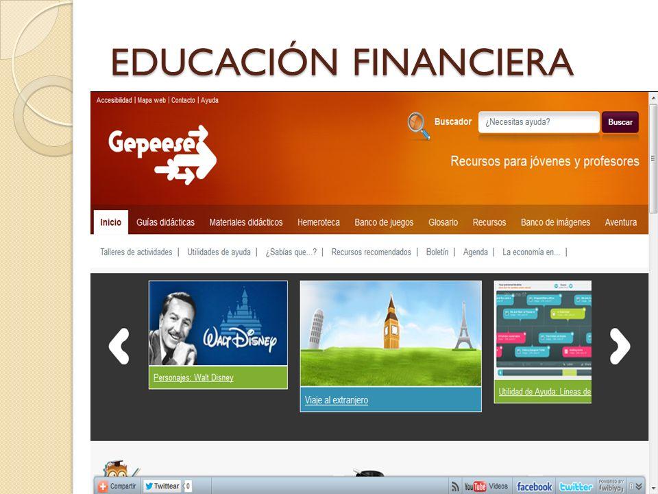 EDUCACIÓN FINANCIERA Finanzas para todos, enlace donde están presenten todos los materiales didácticos.