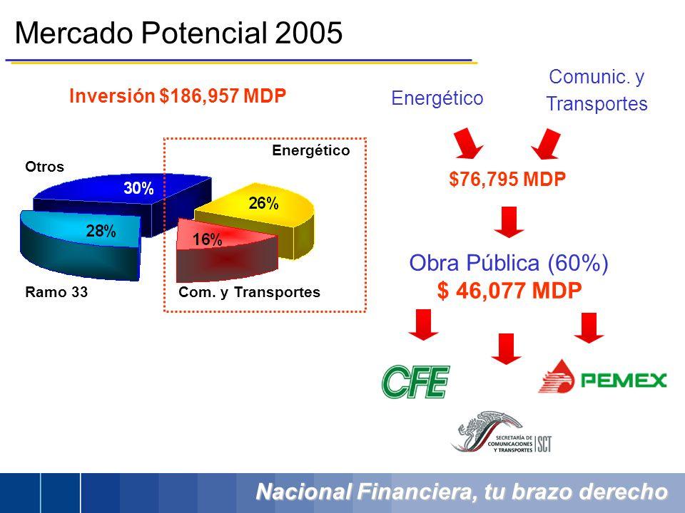 Mercado Potencial 2005 Obra Pública (60%) $ 46,077 MDP Comunic. y