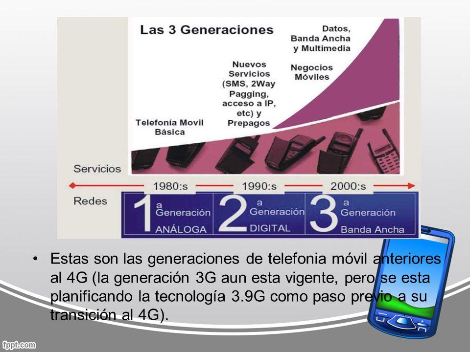 Estas son las generaciones de telefonia móvil anteriores al 4G (la generación 3G aun esta vigente, pero se esta planificando la tecnología 3.9G como paso previo a su transición al 4G).